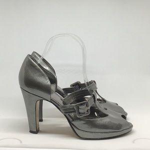 "Nine West ""WNBIKE"" Grey Patent Leather T-Strap"